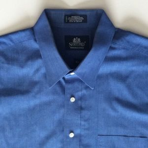 STAFFORD BLUE DRESS SHIRT 16 1/2 SHORT SLEEVE EUC
